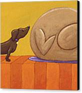 Dog And Turkey Canvas Print by Christy Beckwith