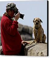 Dog Being Photographed Canvas Print by Terri Waters