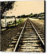 Dog Walk Along The Wayzata Train Tracks Canvas Print by Susan Stone