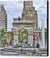 Dog Walking At Washington Square Park Canvas Print by Randy Aveille