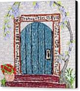 Door With Many Languages Canvas Print by Stephanie Callsen