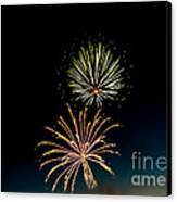 Double Fireworks Blast Canvas Print by Robert Bales