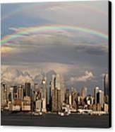 Double Rainbow Over Nyc Canvas Print by Susan Candelario