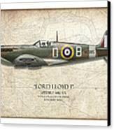 Douglas Bader Spitfire - Map Background Canvas Print by Craig Tinder