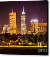 Downtown Indianapolis Skyline At Night Picture Canvas Print by Paul Velgos