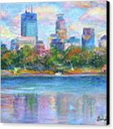 Downtown Minneapolis Skyline From Lake Calhoun Canvas Print by Quin Sweetman