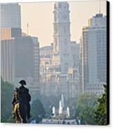 Downtown Philadelphia - Benjamin Franklin Parkway Canvas Print by Simon Wolter