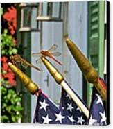 Dragonflies In Full Salute Canvas Print by Nancy Patterson