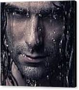 Dramatic Portrait Of Man Wet Face With Long Hair Canvas Print by Oleksiy Maksymenko