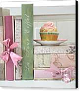 Dreamy Romantic Pastel Shabby Chic Cottage Chic Books With Pink Cupcake - Food Photography Canvas Print by Kathy Fornal