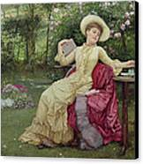 Drinking Coffee And Reading In The Garden Canvas Print by Edward Killingworth Johnson