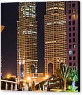 Dubai Business Towers Canvas Print by Zaharra Hemani