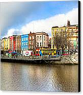 Dublin River Liffey Panorama Canvas Print by Mark E Tisdale
