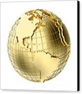 Earth In Gold Metal Isolated On White Canvas Print by Johan Swanepoel