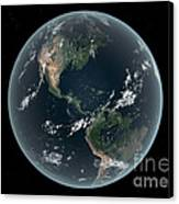 Earths Western Hemisphere With Rise Canvas Print by Walter Myers