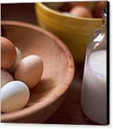 Eggs Bowls And Milk Canvas Print by Toni Hopper