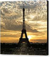 Eiffel Tower At Sunset Canvas Print by Debra and Dave Vanderlaan