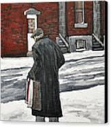 Elderly Gentleman  In Pointe St. Charles Canvas Print by Reb Frost