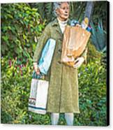 Elderly Shopper Statue Key West - Hdr Style Canvas Print by Ian Monk