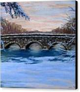 Elm Street Bridge On A Winter's Morn Canvas Print by Jack Skinner