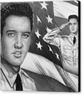 Elvis Patriot Bw Signed Canvas Print by Andrew Read
