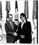 Elvis Presley And President Nixon Canvas Print by Retro Images Archive