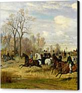 Emperor Franz Joseph I Of Austria Hunting To Hounds With The Countess Larisch In Silesia Canvas Print by Emil Adam