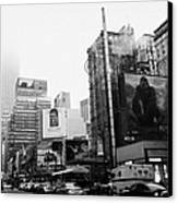 empire state building shrouded in mist from west 34th Street and 7th Avenue King Kong movie poster Canvas Print by Joe Fox