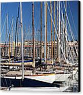 Empty Masts In Vieux Port Canvas Print by John Rizzuto