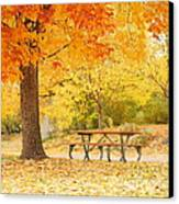 Empty Park On A Fall Day Canvas Print by Yoshiko Wootten