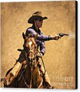 End Of Trail 2012 Mounted Shooting Canvas Print by Priscilla Burgers