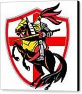 English Knight Lance England Flag Shield Retro Canvas Print by Aloysius Patrimonio