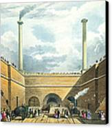 Entrance Of The Railway At Edge Hill Canvas Print by Thomas Talbot Bury