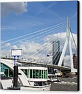 Erasmus Bridge In Rotterdam City Downtown Canvas Print by Artur Bogacki
