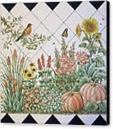 Espinosa's Flower Garden Tile Mural Canvas Print by Julia Sweda