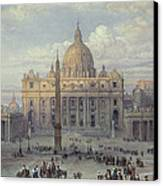 Exterior Of St Peters In Rome From The Piazza Canvas Print by Louis Haghe