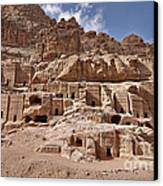 facade street in Nabataean ancient town Petra Canvas Print by Juergen Ritterbach