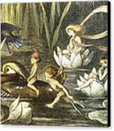 Fairies And Water Lilies Circa 1870 Canvas Print by Richard Doyle
