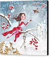 Fairy With Berries Canvas Print by Caroline Bonne-Muller