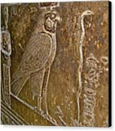 Falcon Symbol For Horus In A Crypt In Temple Of Hathor In Dendera-egypt Canvas Print by Ruth Hager