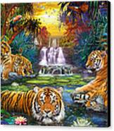 Family At The Jungle Pool Canvas Print by Jan Patrik Krasny