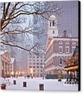 Faneuil Hall In Snow Canvas Print by Susan Cole Kelly