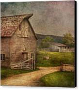 Farm - Barn - The Old Gray Barn  Canvas Print by Mike Savad