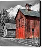 Farm - Barn - Weathered Red Barn Canvas Print by Paul Ward