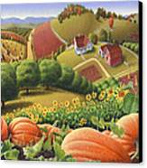Farm Landscape - Autumn Rural Country Pumpkins Folk Art - Appalachian Americana - Fall Pumpkin Patch Canvas Print by Walt Curlee