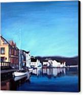 Farsund Dock Scene I Canvas Print by Janet King