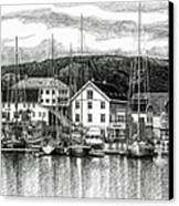 Farsund Dock Scene Pen And Ink Canvas Print by Janet King