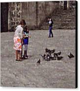 Feeding Pigeons In Santiago De Compostela Canvas Print by Mary Machare