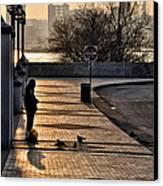 Feeding The Birds At Dawn Canvas Print by Bill Cannon