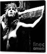Female Christ Black And White Canvas Print by Ramon Martinez